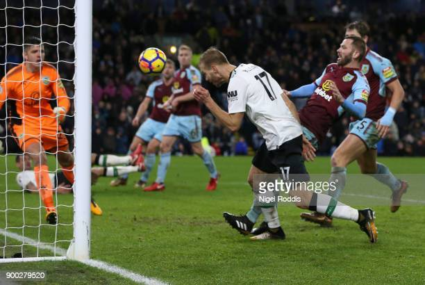 Ragnar Klavan of Liverpool scores his sides second goal during the Premier League match between Burnley and Liverpool at Turf Moor on January 1 2018...