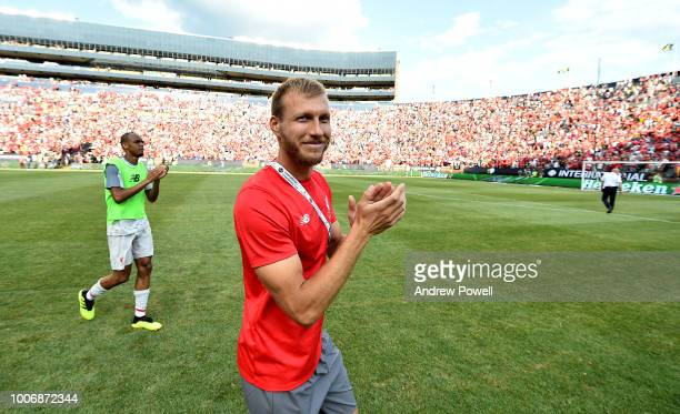 Ragnar Klavan of Liverpool shows his appreciation to the fans at the end of the International Champions Cup 2018 match between Manchester United and...