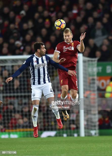 Ragnar Klavan of Liverpool with Hal Robson kanu of West Brom during the Premier League match between Liverpool and West Bromwich Albion at Anfield on...