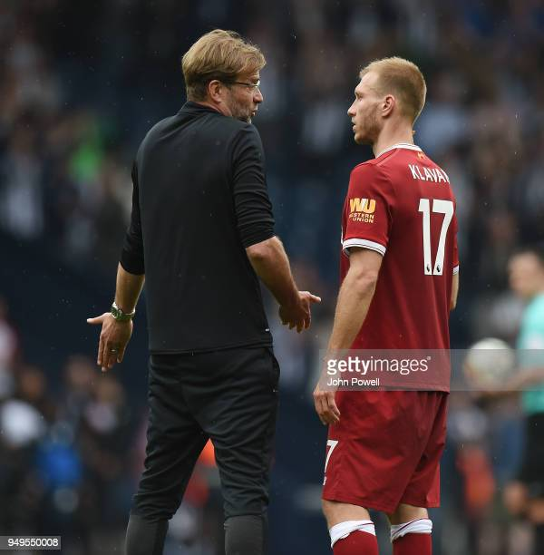 Ragnar Klavan of Liverpool with Jurgen Klopp at the end of the Premier League match between West Bromwich Albion and Liverpool at The Hawthorns on...