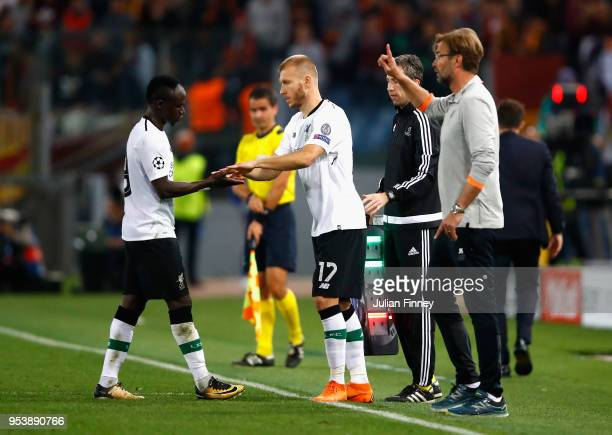 Ragnar Klavan replaces Sadio Mane of Liverpool during the UEFA Champions League Semi Final Second Leg match between AS Roma and Liverpool at Stadio...