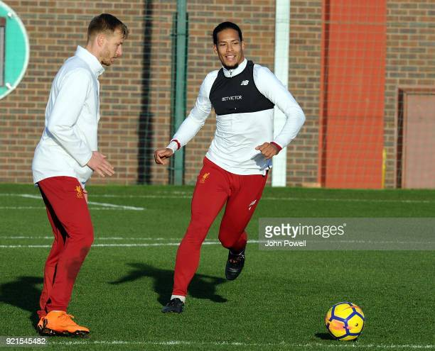 LIVERPOOL ENGLAND FEBRUARY 20 Ragnar Klavan with Virgil van Dijk of Liverpool during a training session at Melwood Training Ground on February 20...