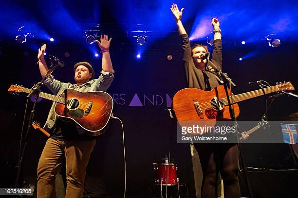 Ragnar Porhallsson and Nanna Bryndis Hilmarsdottir of Of Monsters and Men perform on stage at Manchester Academy on February 24 2013 in Manchester...