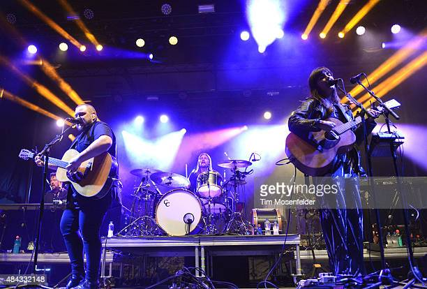 Ragnar Porhallsson and Nanna Bryndis Hilmarsdottir with Of Monsters and Men perform during 947's 20th Birthday Bash at Oregon Museum of Science and...