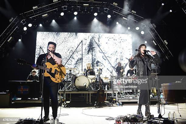 Ragnar Porhallsson and Nanna Bryndís Hilmarsdottir with Of Monsters and Men perform during Live 105's BFD at Shoreline Amphitheatre on June 6 2015 in...