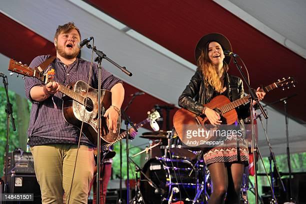 Ragnar 'Raggi' fiorhallsson and Nanna Bryndis Hilmarsdottir of the band Of Monsters And Men perform on stage during Latitude Festival 2012 at Henham...