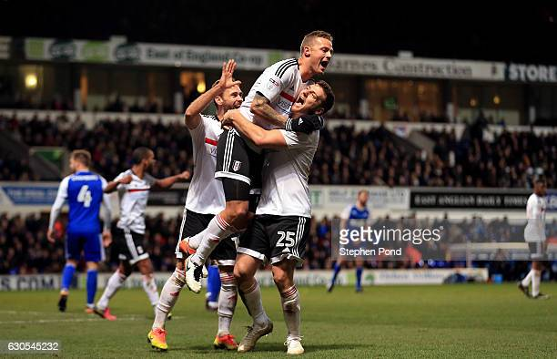 Ragnar Sigurdsson of Fulham celebrates scoring his sides second goal during the Sky Bet Championship match between Ipswich Town and Fulham at Portman...
