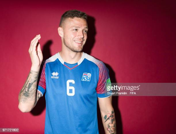 Ragnar Sigurdsson of Iceland poses for a picture during the official FIFA World Cup 2018 portrait session at on June 11 2018 in Gelendzhik Russia
