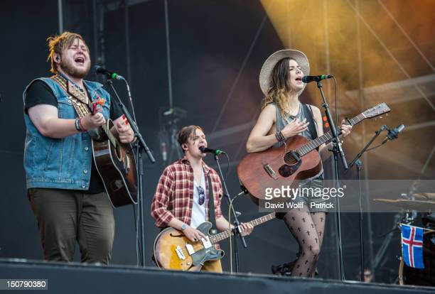 Ragnar Thorhallsson and Nanna Bryndis Hilmarsdottir from Of Monsters and Men perform at Rock En Seine Festival 10th Anniversary on August 25 2012 in...