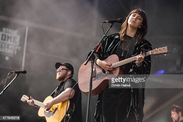 Ragnar Thorhallsson and Nanna Bryndis Hilmarsdottir of Of Monsters And Men perform on stage at Beekse Bergen on June 20 2015 in Hilvarenbeek...