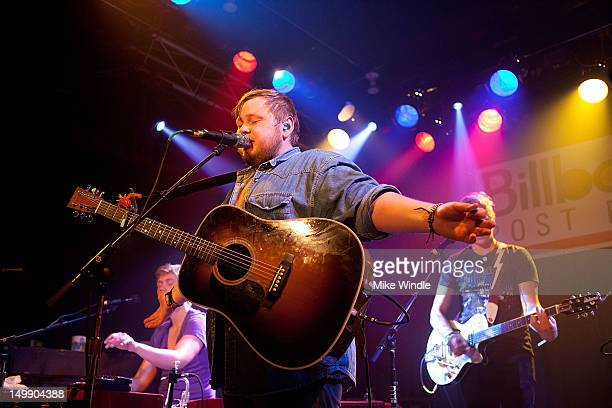 Ragnar Thorhallsson of the Icelandic band Of Monsters and Men performs on stage during the Billboard post party during Lollapolooza 2012 at the...