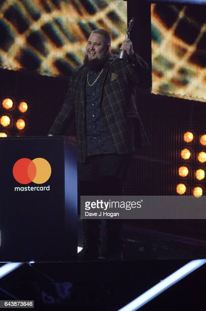 ONLY Rag'n'Bone Man accepts the award for Best British Breakthrough Act on stage at The BRIT Awards 2017 at The O2 Arena on February 22 2017 in...