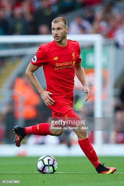 Ragner Klavan of Liverpool during the Premier League match between Liverpool and Hull City at Anfield on September 24 2016 in Liverpool England