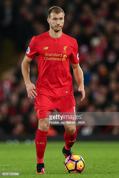 Ragner Klavan of Liverpool during the Premier League match between Liverpool and West Ham United at Anfield on December 11 2016 in Liverpool England