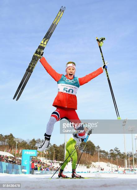 Ragnhild Haga of Norway celebrates winning the CrossCountry Skiing Ladies' 10 km Free on day six of the PyeongChang 2018 Winter Olympic Games at...