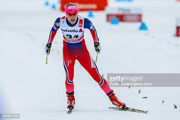 Ragnhild Haga of Norway competes during the FIS Nordic World Cup Men's and Women's Cross Country Tour de Ski on January 8 2016 in Toblach...