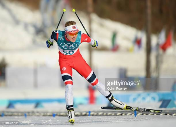 Ragnhild Haga of Norway crosses the finishing line during the CrossCountry Skiing Ladies' 10 km Free on day six of the PyeongChang 2018 Winter...
