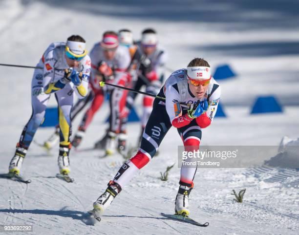 Ragnhild Haga of Norway during Ladies 10.0 km Pursuit Free at Lugnet Stadium on March 18, 2018 in Falun, Sweden.