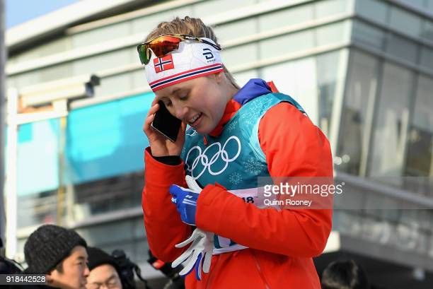 Ragnhild Haga of Norway reacts in the finish area after winning the CrossCountry Skiing Ladies' 10 km Free on day six of the PyeongChang 2018 Winter...