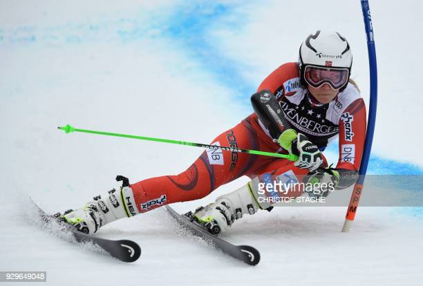 Ragnhild Mowinckel from Norway competes during the 1st round of the FIS World Cup Women's Giant Slalom competition in Ofterschwang southern Germany...