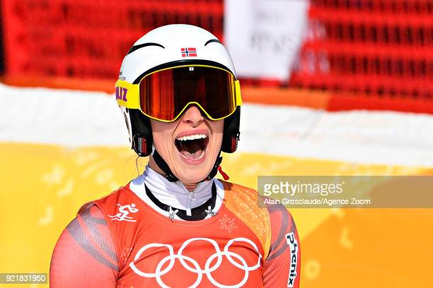 Ragnhild Mowinckel of Norway celebrates during the Alpine Skiing Women's Downhill at Jeongseon Alpine Centre on February 21 2018 in Pyeongchanggun...