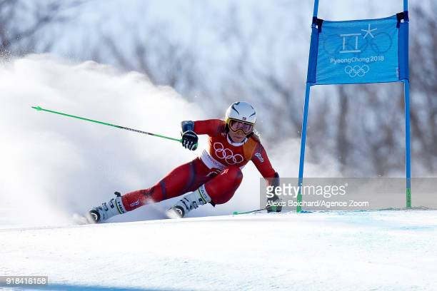 Ragnhild Mowinckel of Norway competes during the Alpine Skiing Women's Giant Slalom at Yongpyong Alpine Centre on February 15 2018 in Pyeongchanggun...