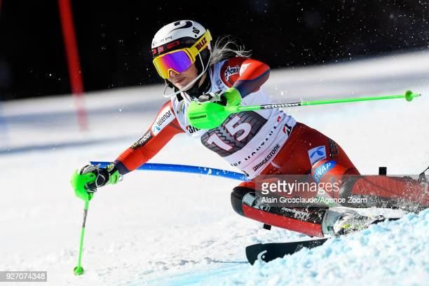 Ragnhild Mowinckel of Norway competes during the Audi FIS Alpine Ski World Cup Women's Combined on March 4 2018 in CransMontana Switzerland