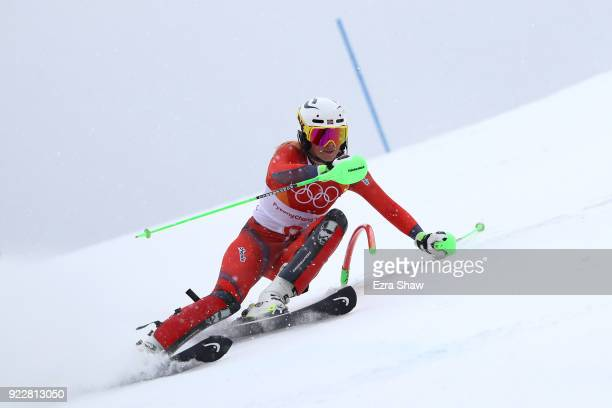 Ragnhild Mowinckel of Norway competes during the Ladies' Alpine Combined on day thirteen of the PyeongChang 2018 Winter Olympic Games at Yongpyong...