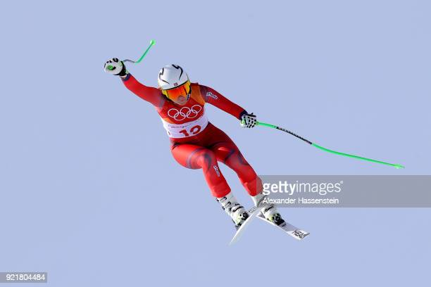 Ragnhild Mowinckel of Norway competes during the Ladies' Downhill on day 12 of the PyeongChang 2018 Winter Olympic Games at Jeongseon Alpine Centre...
