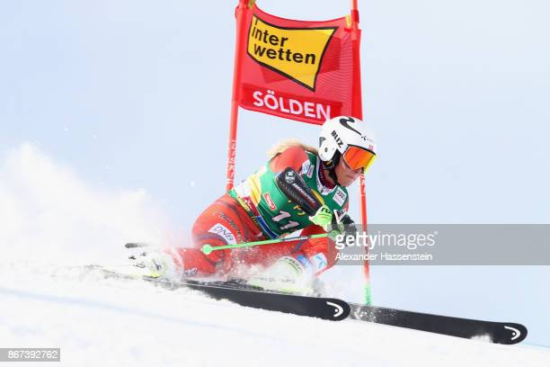 Ragnhild Mowinckel of Norway competes in the first run of the AUDI FIS Ski World Cup Ladies Giant Slalom on October 28 2017 in Soelden Austria