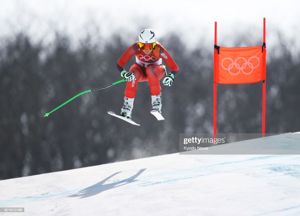 Ragnhild Mowinckel of Norway competes in the women's downhill skiing event at the Pyeongchang Winter Olympics in South Korea on Feb. 21, 2018. She won silver. ==Kyodo