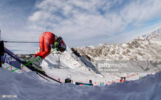 Ragnhild Mowinckel of Norway competes in the women's Giant Slalom event of the FIS ski World cup in Soelden Austria on October 28 2017 Viktoria...