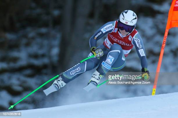 Ragnhild Mowinckel of Norway in action during the Audi FIS Alpine Ski World Cup Women's Downhill on December 18 2018 in Val Gardena Italy
