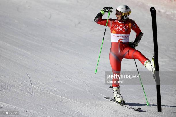 Ragnhild Mowinckel of Norway looks on at the finish during the Ladies' Giant Slalom on day six of the PyeongChang 2018 Winter Olympic Games at...