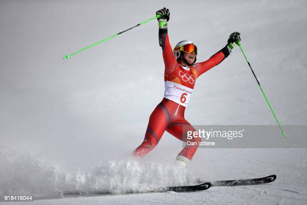 Ragnhild Mowinckel of Norway reacts at the finish during the Ladies' Giant Slalom on day six of the PyeongChang 2018 Winter Olympic Games at...