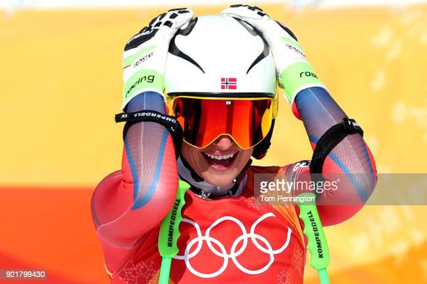 Ragnhild Mowinckel of Norway reacts at the finish during the Ladies' Downhill on day 12 of the PyeongChang 2018 Winter Olympic Games at Jeongseon...