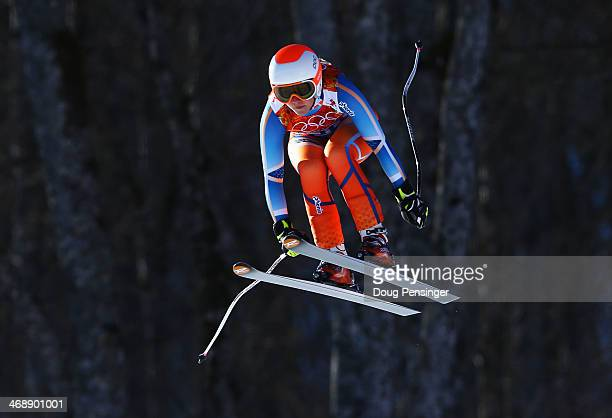 Ragnhild Mowinckel of Norway skis during the Alpine Skiing Women's Downhill on day 5 of the Sochi 2014 Winter Olympics at Rosa Khutor Alpine Center...