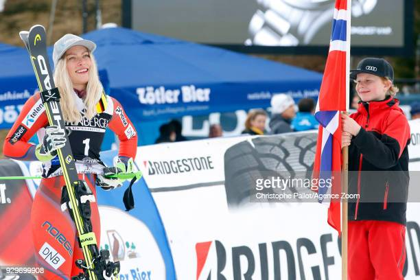 Ragnhild Mowinckel of Norway takes 1st place during the Audi FIS Alpine Ski World Cup Women's Giant Slalom on March 9 2018 in Ofterschwang Germany