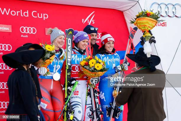 Ragnhild Mowinckel of Norway takes 2nd place Viktoria Rebensburg of Germany takes 1st place Alberto Tomba of Italy Federica Brignone of Italy takes...