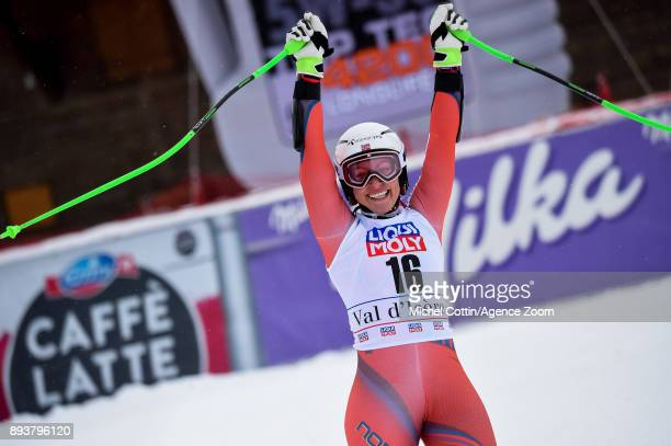 Ragnhild Mowinckel of Norway takes 3rd place during the Audi FIS Alpine Ski World Cup Women's Super G on December 16 2017 in Vald'Isere France