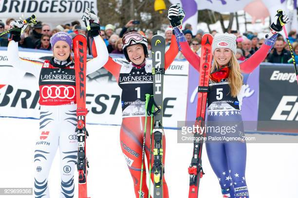 Ragnhild Mowinckel of Norway takes joint 1st place Viktoria Rebensburg of Germany takes 2nd place Mikaela Shiffrin of USA takes 3rd place during the...