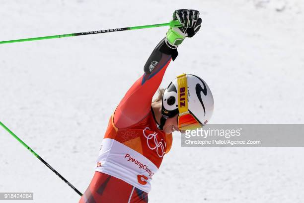 Ragnhild Mowinckel of Norway wins the silver medal during the Alpine Skiing Women's Giant Slalom at Yongpyong Alpine Centre on February 15 2018 in...