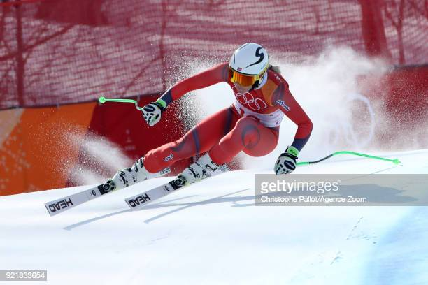Ragnhild Mowinckel of Norway wins the silver medal during the Alpine Skiing Women's Downhill at Jeongseon Alpine Centre on February 21 2018 in...
