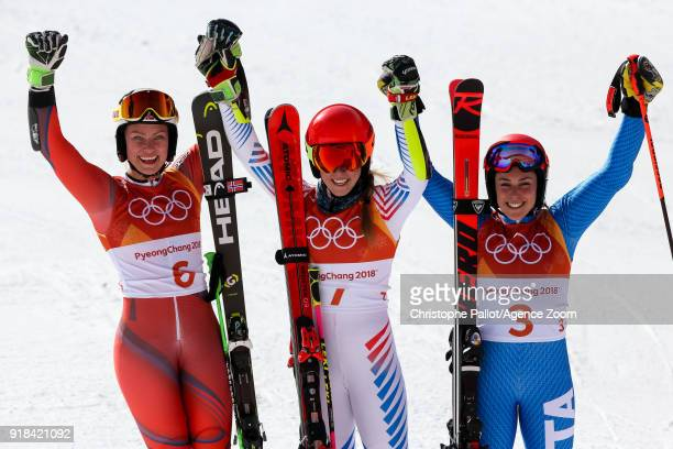 Ragnhild Mowinckel of Norway wins the silver medal Mikaela Shiffrin of USA wins the gold medal Federica Brignone of Italy wins the bronze medal...