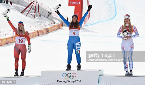 Ragnhild Mowinckel of Norway wins the silver medal Sofia Goggia of Italy wins the gold medal Lindsey Vonn of USA wins the bronze medal during the...