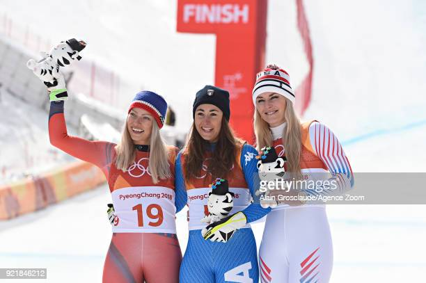 Ragnhild Mowinckel of Norway wins the silver medal Sofia Goggia of Italy wins the gold medal Lindsey Vonn of USA wins the silver medal during the...