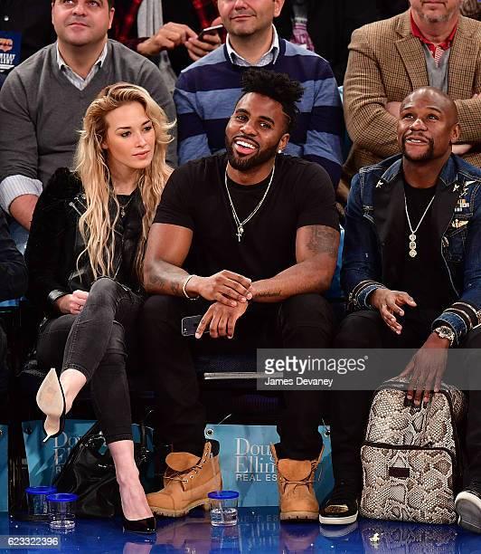 Ragon Miller and Jason Derulo attend New York Knicks vs Dallas Mavericks game at Madison Square Garden on November 14 2016 in New York City