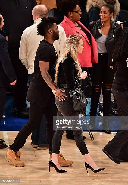Ragon Miller and Jason Derulo attend New York Knicks vs Dallas Mavericks game at Madison Square Garden on November 14 2016 in New York City