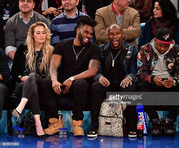 Ragon Miller Jason Derulo and Floyd Mayweather attend New York Knicks vs Dallas Mavericks game at Madison Square Garden on November 14 2016 in New...