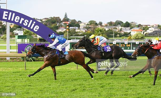 Rags To Riches ridden by Michael Coleman approaches the finish line during the Easter Handicap at the Ellerslie Races April 15 2006 in Auckland New...